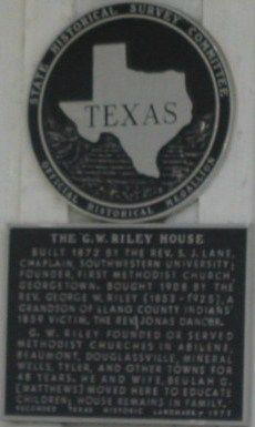 G.W. Riley House Marker image. Click for full size.