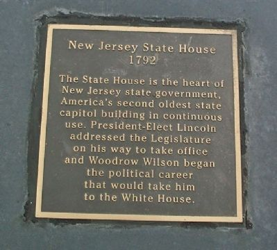 Warren Street Plaza - New Jersey State House Marker image. Click for more information.