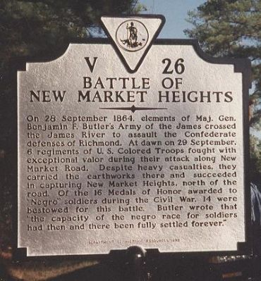 Battle of New Market Heights Marker image. Click for full size.