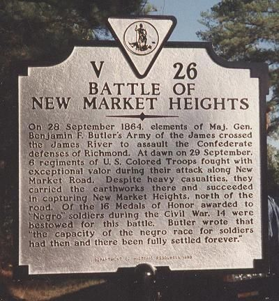 Battle of New Market Heights Marker