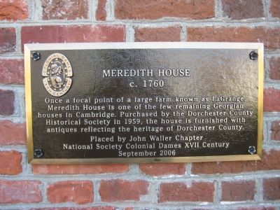 Meredith House Marker image. Click for full size.