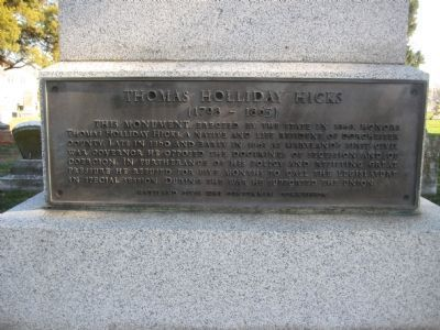 Marker on Hicks Monument image. Click for full size.