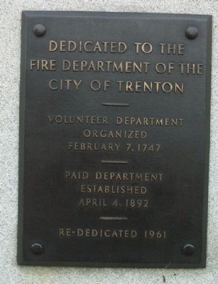 Fire Department of the City of Trenton Marker image. Click for full size.