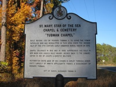 "St. Mary, Star of the Sea Chapel & Cemetary, ""Tubman Chapel"" Marker image. Click for full size."