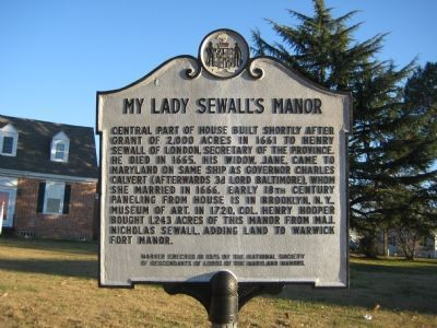 My Lady Sewall's Manor Marker image. Click for full size.
