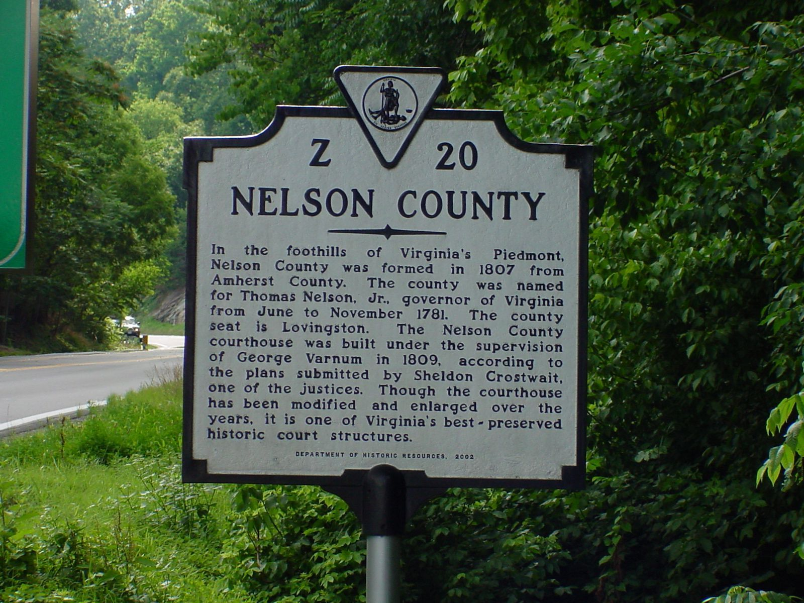 Nelson County Face of Marker