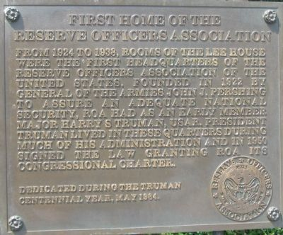 First Home of the Reserve Officers Association Marker image. Click for full size.