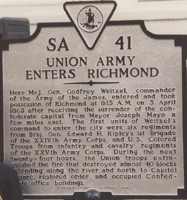 Union Army Enters Richmond Marker image. Click for full size.