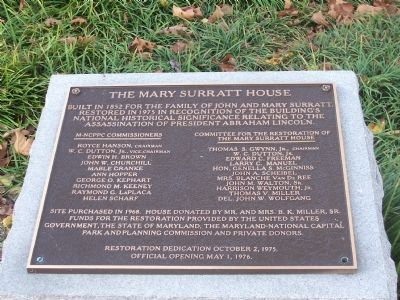 The Mary Surratt House Restoration image. Click for full size.