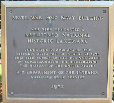 State, War, and Navy Building Marker image. Click for full size.