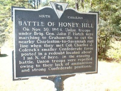 Battle of Honey Hill Marker image. Click for full size.