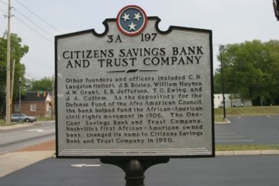 Citizens Savings Bank and Trust Company Marker (Reverse) image. Click for full size.