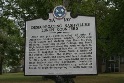 Desegregating Nashville's Lunch Counters Marker image. Click for full size.