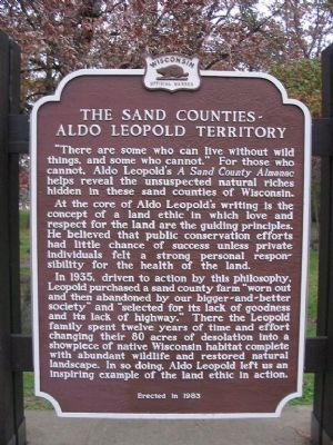 The Sand Counties - Aldo Leopold Territory Marker image. Click for full size.