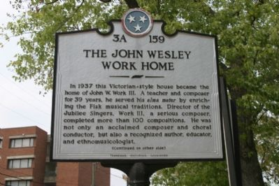 The John Wesley Work Home Marker (Obverse) image. Click for full size.