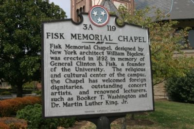 Fisk Memorial Chapel Marker - Back image. Click for full size.