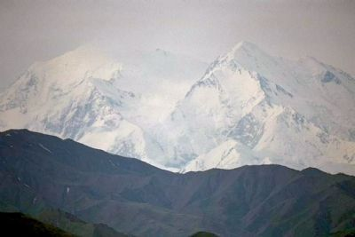 "Mt McKinley Summit, from 60 miles away. Indian name is ""Denali"" image. Click for full size."