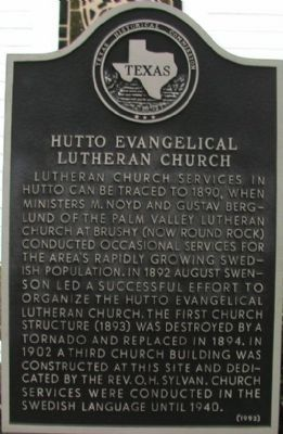 Hutto Evangelical Lutheran Church Marker image. Click for full size.