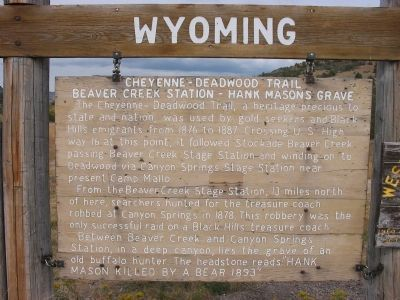 Cheyenne - Deadwood Trail Marker image. Click for full size.