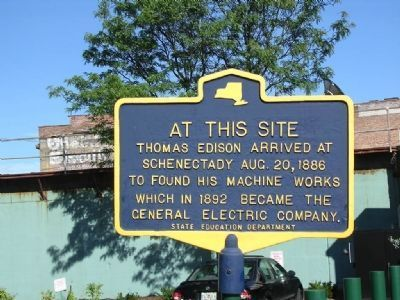 Thomas Edison Arrived at Schenectady Marker image. Click for full size.