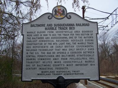 Baltimore and Susquehanna Railroad Marble Track Bed Marker image. Click for full size.