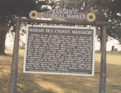 Kansas Historical Marker - Marais des Cygnes Massacre image. Click for full size.
