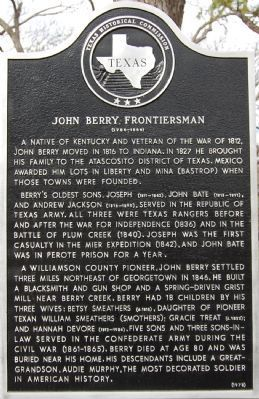 John Berry, Frontiersman Marker image. Click for full size.