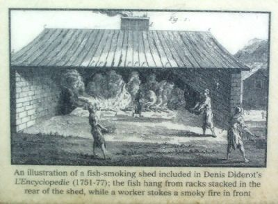 An illustration of a fish-smoking shed image. Click for full size.