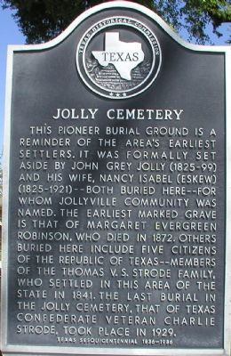 Jolly Cemetery Marker image. Click for full size.