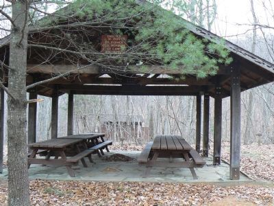 "Pavillion ""Erected in 1986 by Former CCC Members of Camp Roosevelt"" image. Click for full size."