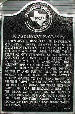 Judge Harry N. Graves Marker image. Click for full size.