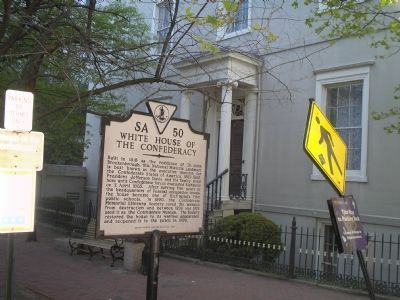 Marker with Confederate Executive Mansion in background image. Click for full size.