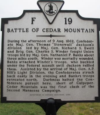 Battle of Cedar Mountain Marker image. Click for full size.