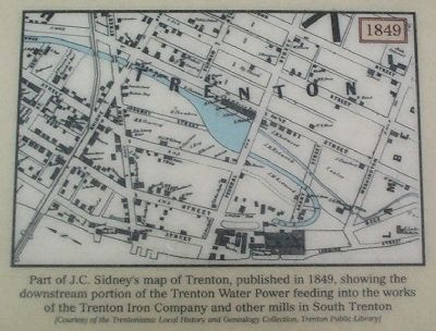 Part of J.C. Sidney's map of Trenton, published in 1849, image. Click for full size.