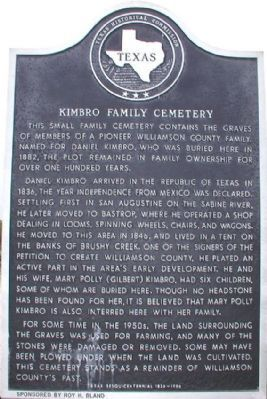 Kimbro Family Cemetery Marker image. Click for full size.