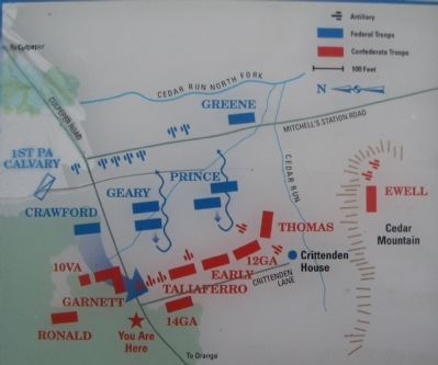 Map of the Battle of Cedar Mountain image. Click for full size.