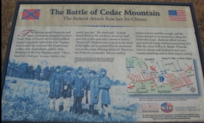 The Battle of Cedar Mountain Marker image. Click for full size.