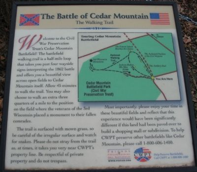 The Battle of Cedar Mountain<br>The Walking Trail image. Click for full size.