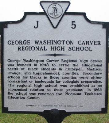 George Washington Carver Regional High School Marker image. Click for full size.