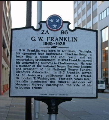 G. W. Franklin Marker - Front image. Click for full size.