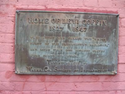 Home of Levi Coffin Marker image. Click for full size.