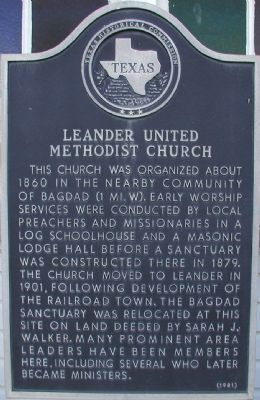 Leander United Methodist Church Marker image. Click for full size.