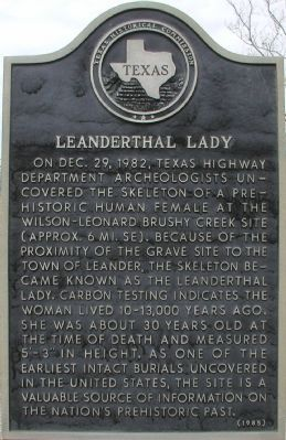 Leanderthal Lady Marker image. Click for full size.