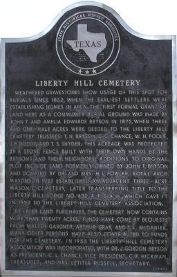 Liberty Hill Cemetery Marker image. Click for full size.