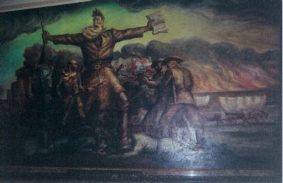 Mural of John Brown displayed in Kansas State Capitol Building image. Click for full size.