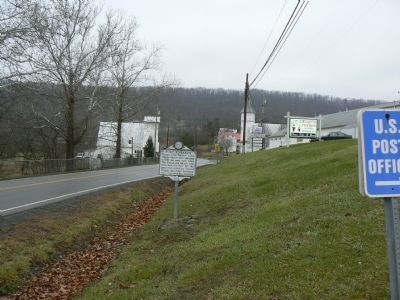 Looking west past the marker along Rt. 50 in Capon Bridge, WV image. Click for full size.