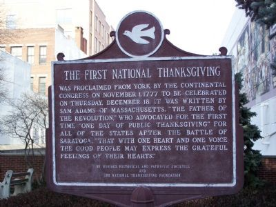 The First National Thanksgiving Marker image. Click for full size.