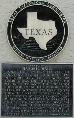 Liberty Hill Masonic Hall Marker image. Click for full size.
