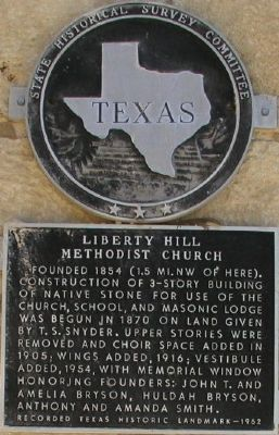 Liberty Hill Methodist Church Marker image. Click for full size.
