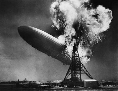 Airship Hindenburg Disaster image. Click for full size.